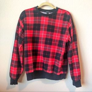 Forever 21 Black and Red Plaid Pullover Sweater
